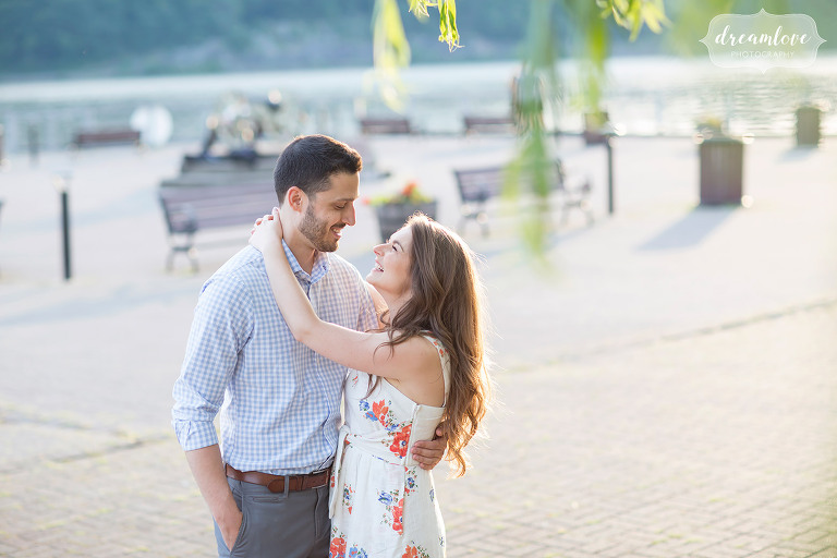Engagement photos of this happy couple on the pavilion at Cold Spring, NY.