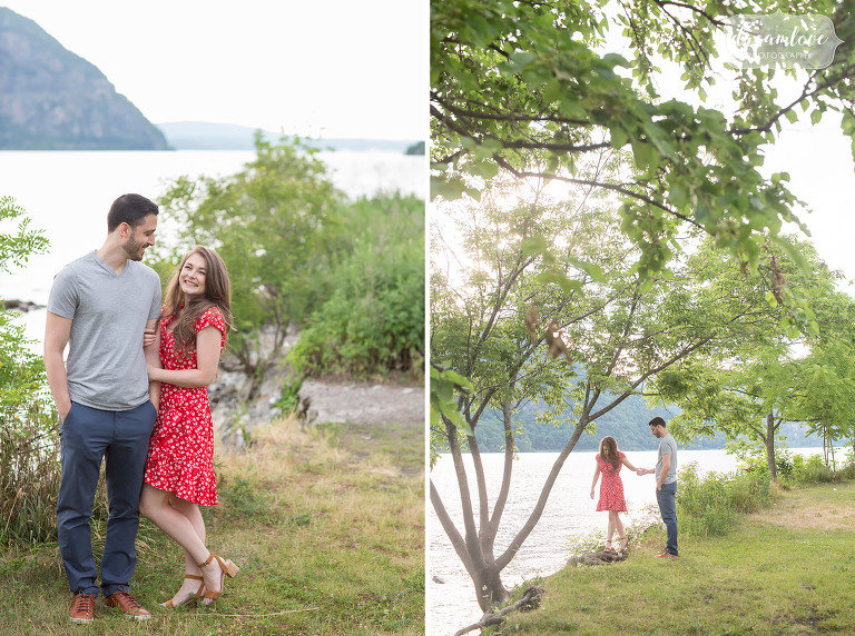 Bright and colorful red and navy summer engagement photo outfit ideas in Cold Spring, NY.