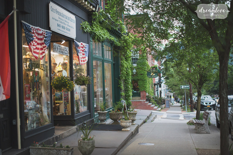 Village of Cold Spring, NY with antique shops and ivy covered brick buildings.