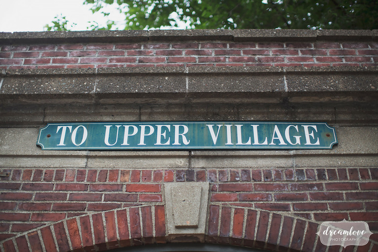 Metro North train entrance in Cold Spring, NY that reads To Upper Village.
