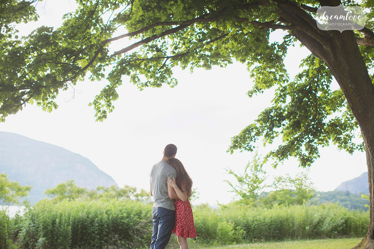 Magical engagement photography in the Hudson Valley under a tree in Cold Spring.