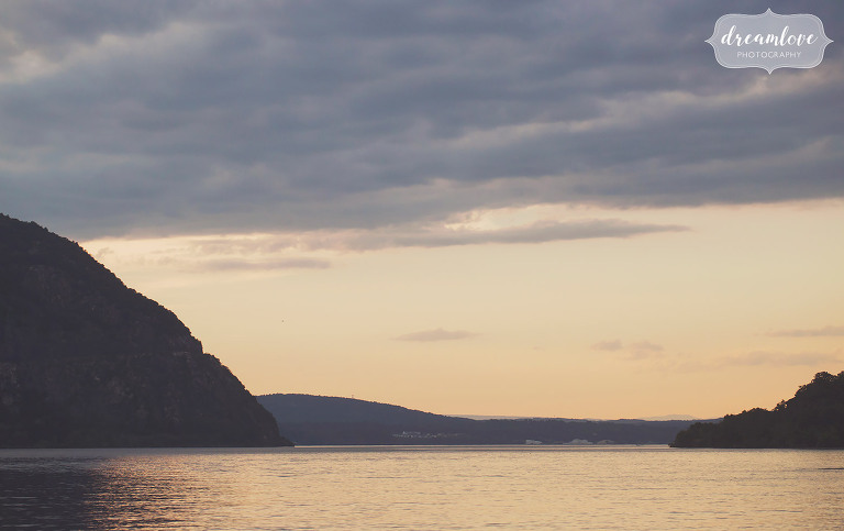 Sunset over the Hudson River in Cold Spring, NY for an engagement.