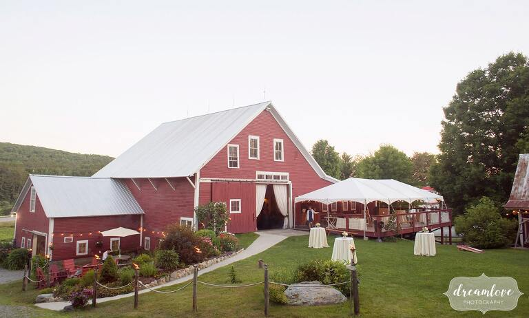 The Bishop Farm wedding venue red barn in Lisbon, NH.