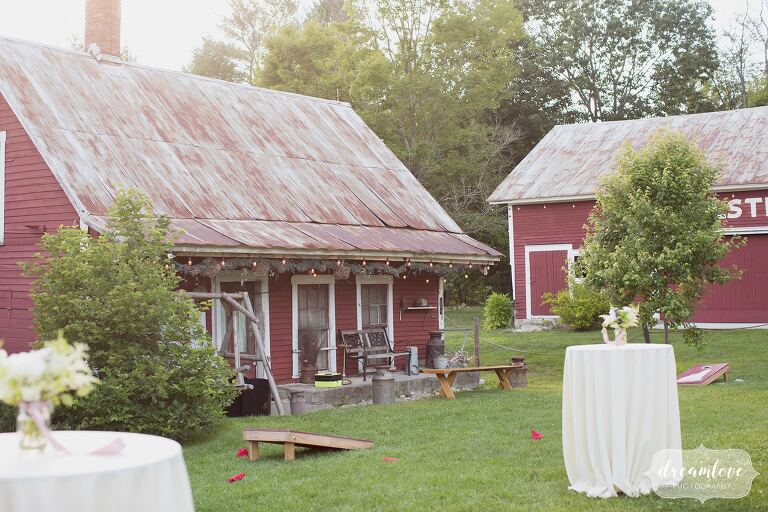 Bishop Farm is a rustic wedding venue with a red barn in Lisbon, NH.