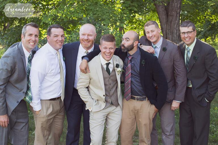 The groomsmen wore a variety of suits at Bishop Farm.