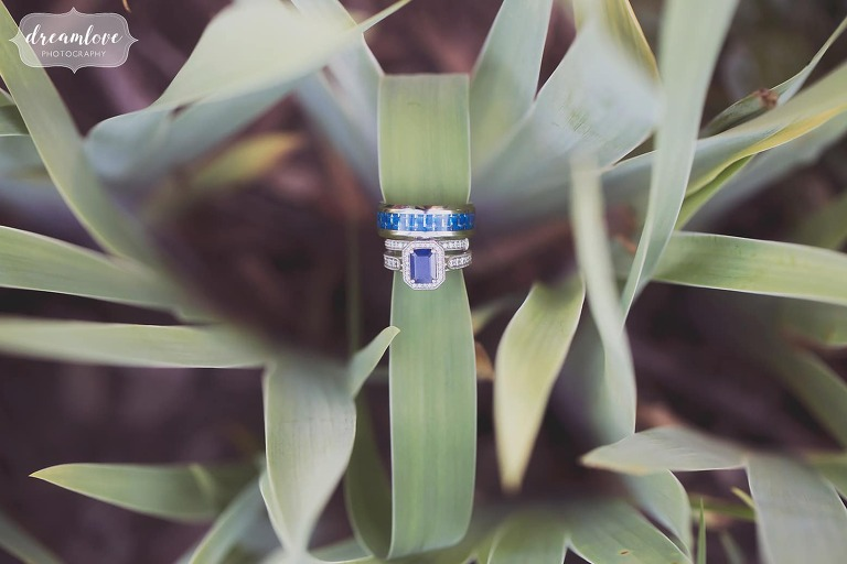 Sapphire engagement ring and band at Bishop Farm wedding in NH.