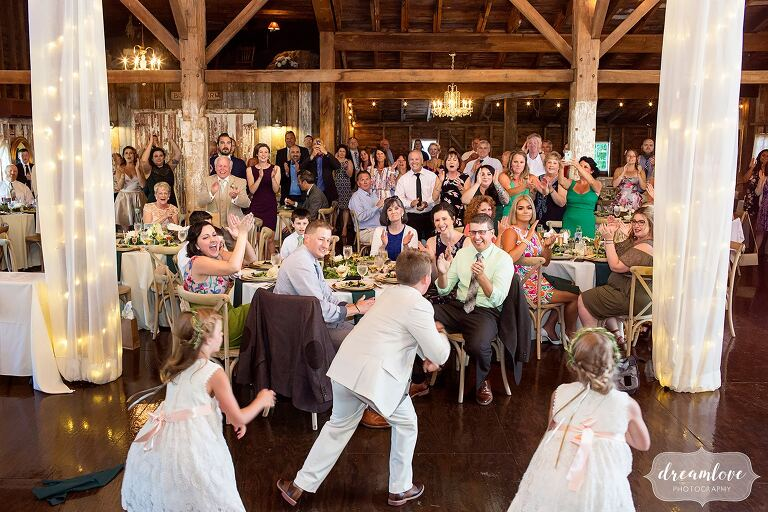 Best wedding documentary photo of kids performing dance at Bishop Farm, NH.