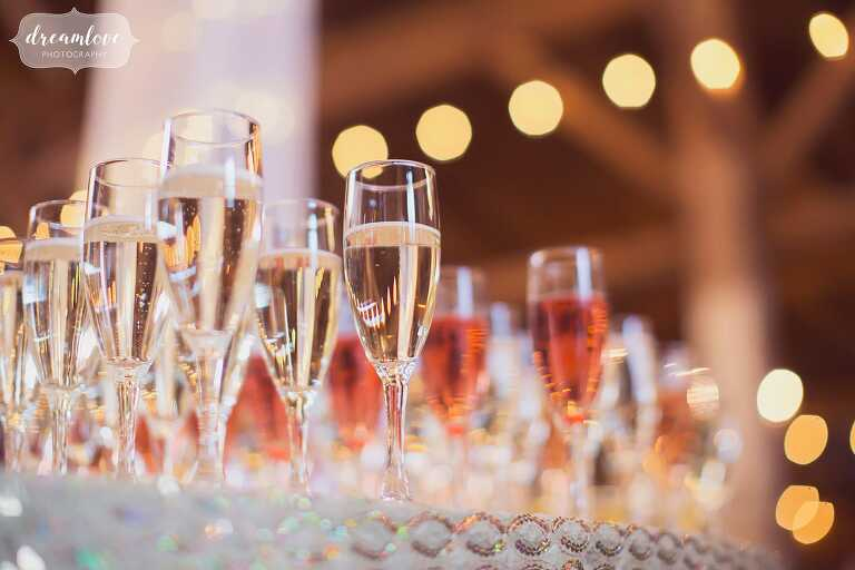Fancy champaign flutes with blurry string lights for Bishop Farm wedding toasts.