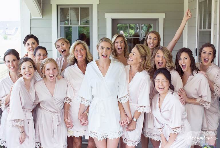 Bridesmaids in robes before this central PA wedding.