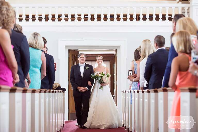 Bride and her father enter Rooke Chapel for Bucknell University wedding.
