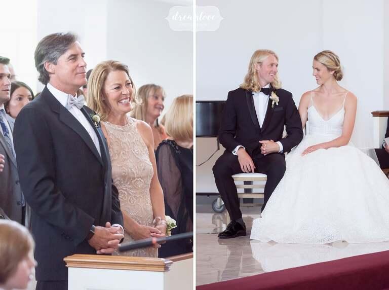 Documentary wedding photos of this chapel wedding at Bucknell.