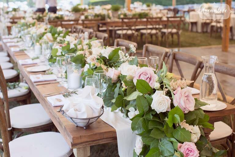 Greenery table garland with pink peonies at One Barn Farm.
