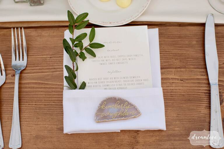 Simple country wedding decor with escort card geode at One Barn Farm in PA.