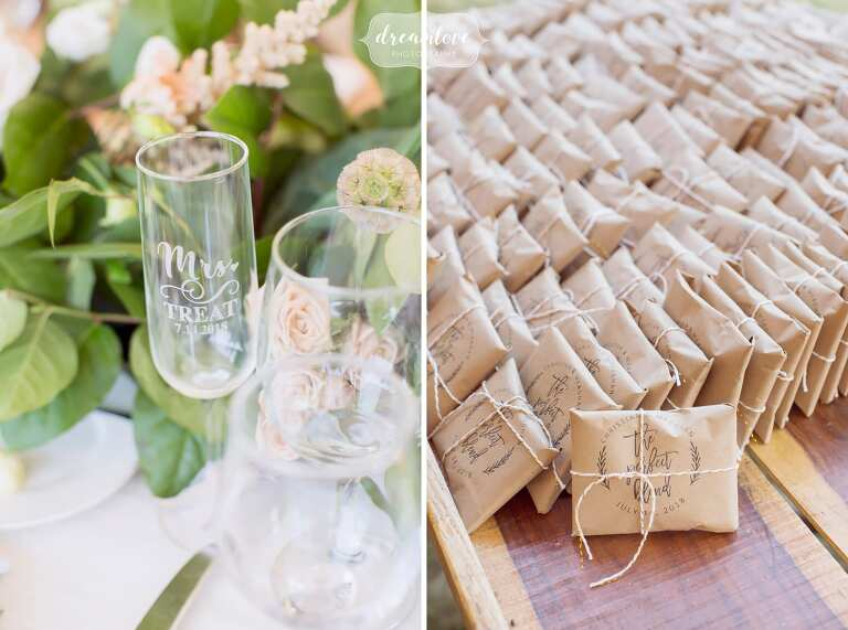Coffee beans in kraft paper as wedding guest favors for this central PA wedding.
