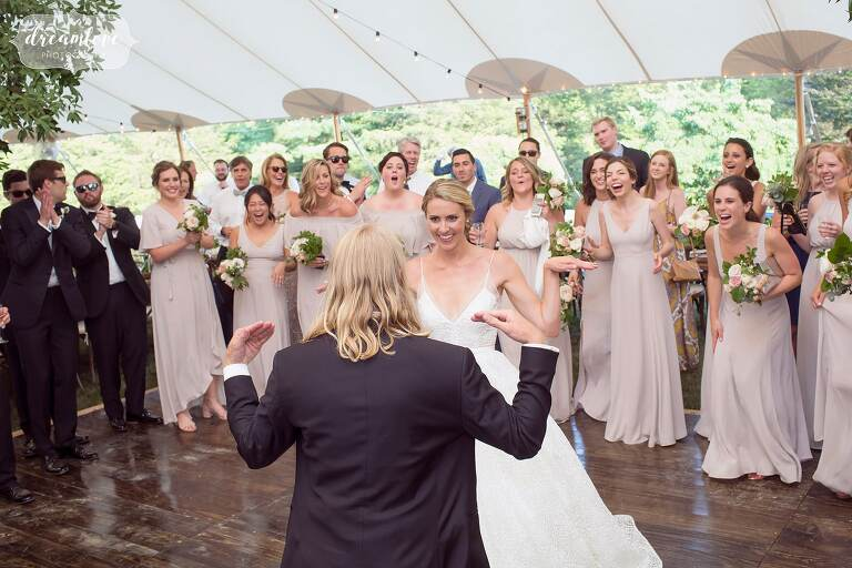 The bride and groom do the crab dance at One Barn Farm.