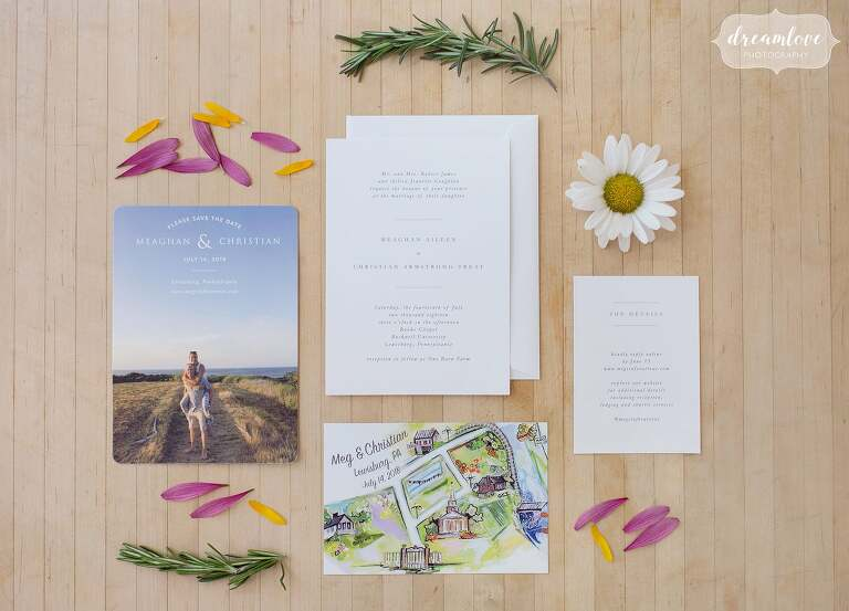 Simple coastal style wedding invitation with save the date.