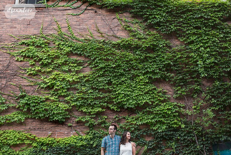 Couple stands in front of a wall of ivy during Shelburne Falls engagement session.