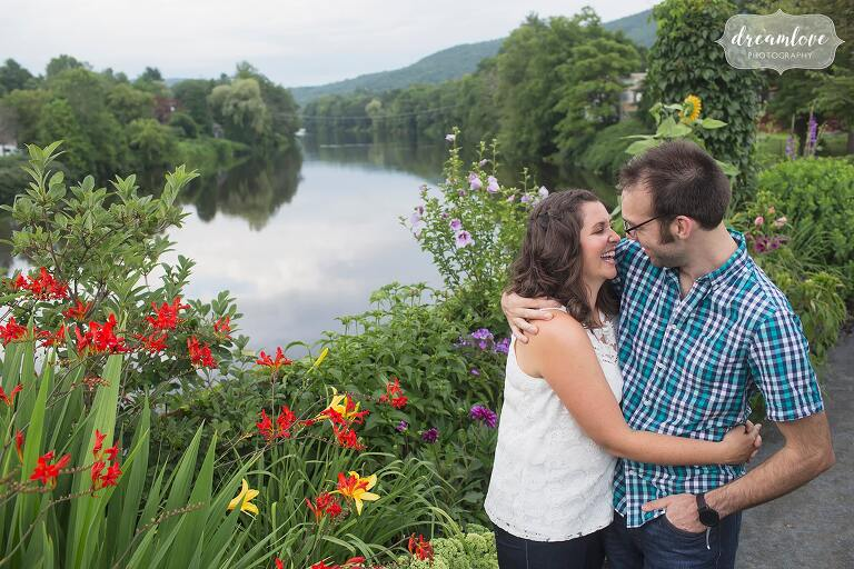 Shelburne falls engagement photos at the Bridge of Flowers in western MA.