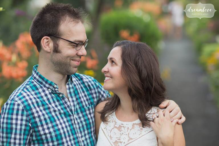 Engagement photographer in Western Mass at the Bridge of Flowers.