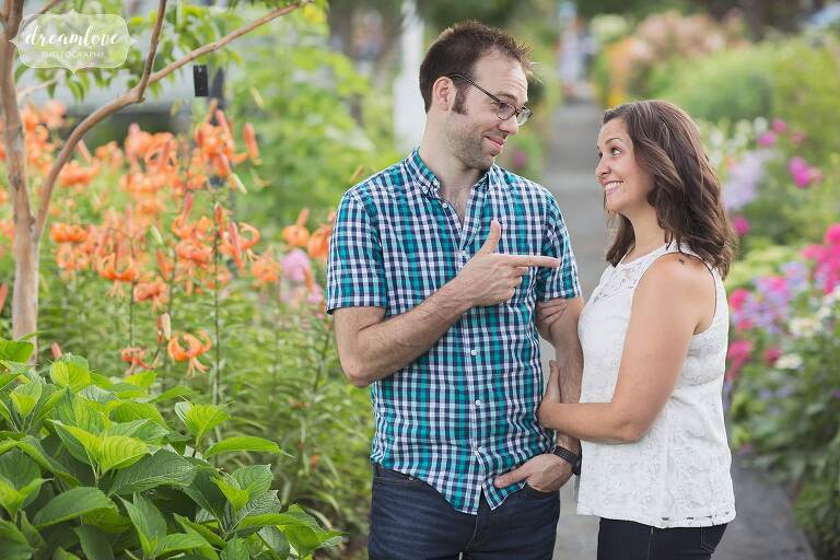 Funny couple during their engagement photography session in Western MA.