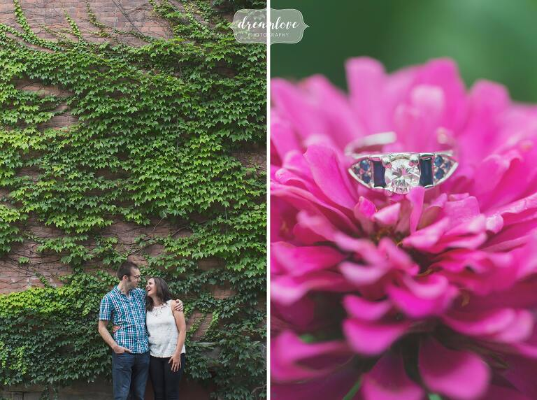 Couple laughing in front of ivy during this Shelburne Falls engagement shoot.