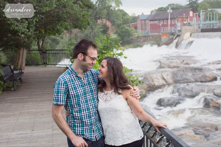 The Salmon Falls potholes behind this engaged couple during their Shelburne Falls, MA session.