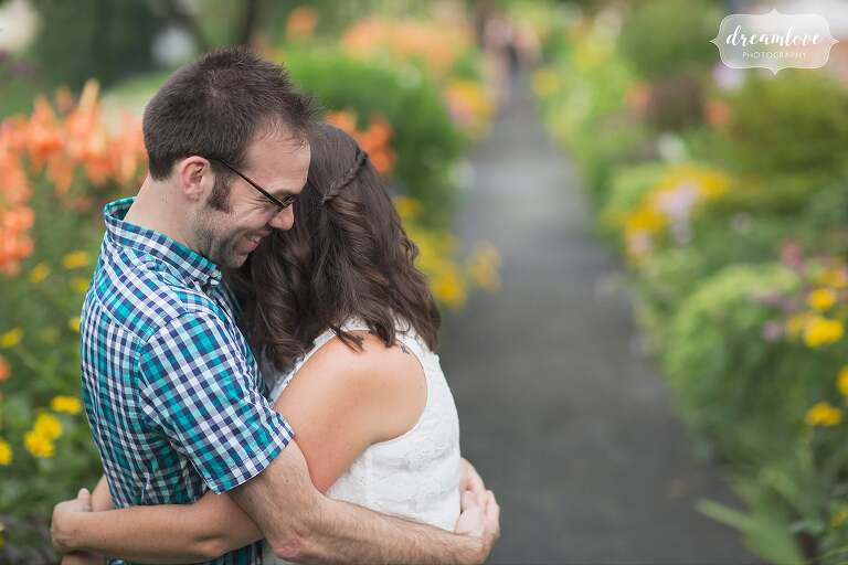 Intimate moment between the engaged couple during their Shelburne Falls session.