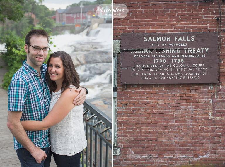 Engagement photography at the Shelburne Falls potholes location where the dam is.