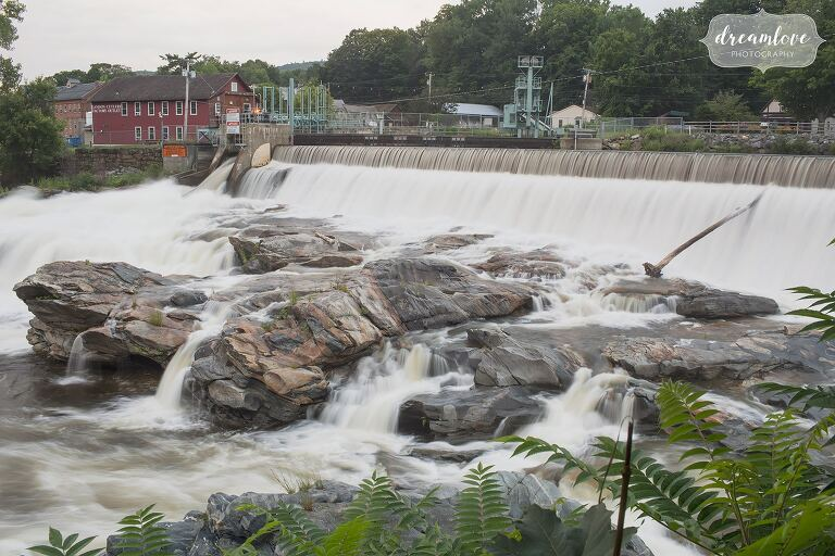 The Shelburne Falls, MA dam where the potholes attraction is.