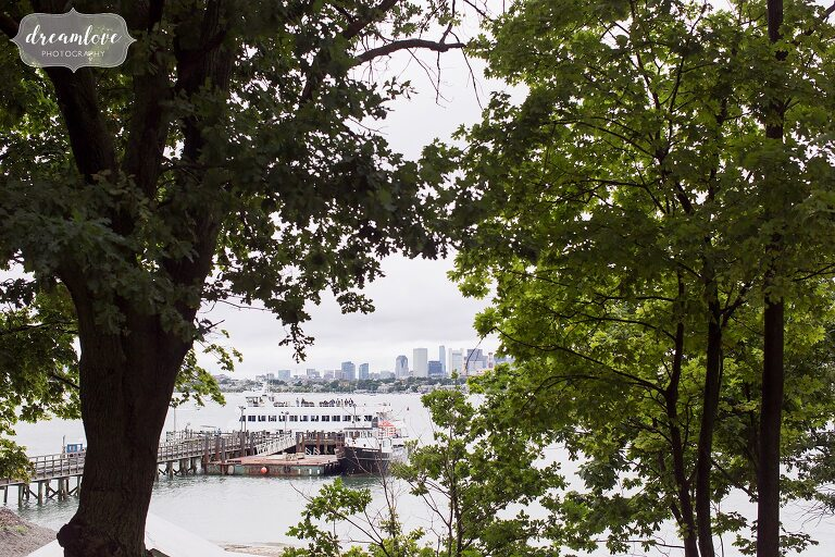 The ferry arrives for this Boston Harbor wedding on Thompson Island.