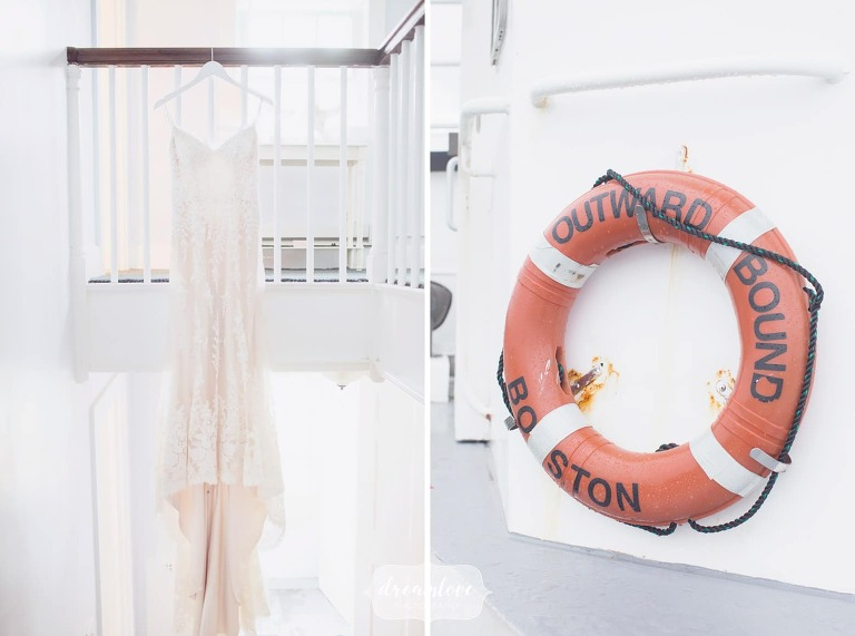 The dress hangs on a staircase for this Boston Harbor wedding.