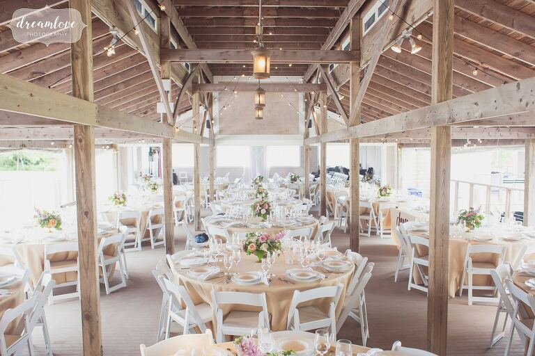 The Thompson Island pavilion is decorated for a wedding reception.