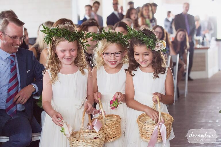 Three flower girls in Anthropologie and flower crowns for Thompson Island wedding.