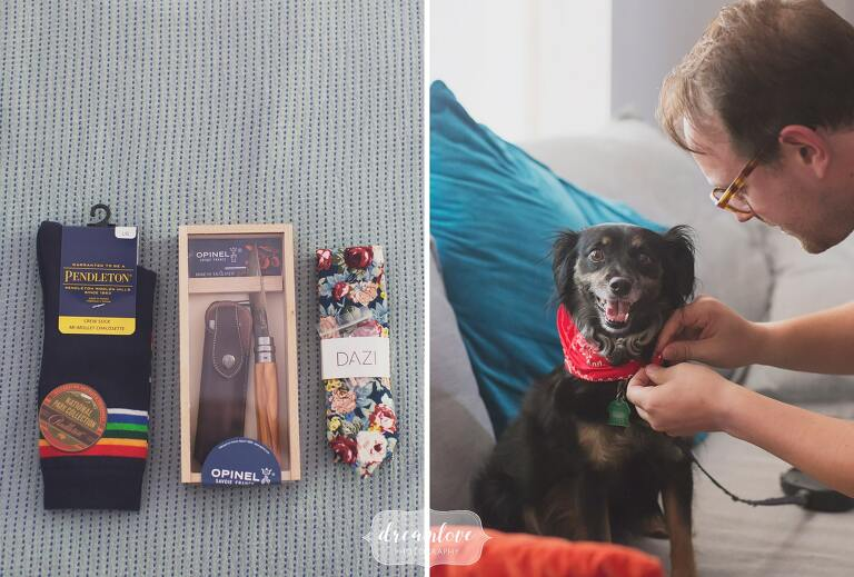 Great ideas for useful groomsmen gifts with Pendleton socks, a pocket knife and floral tie in NH.