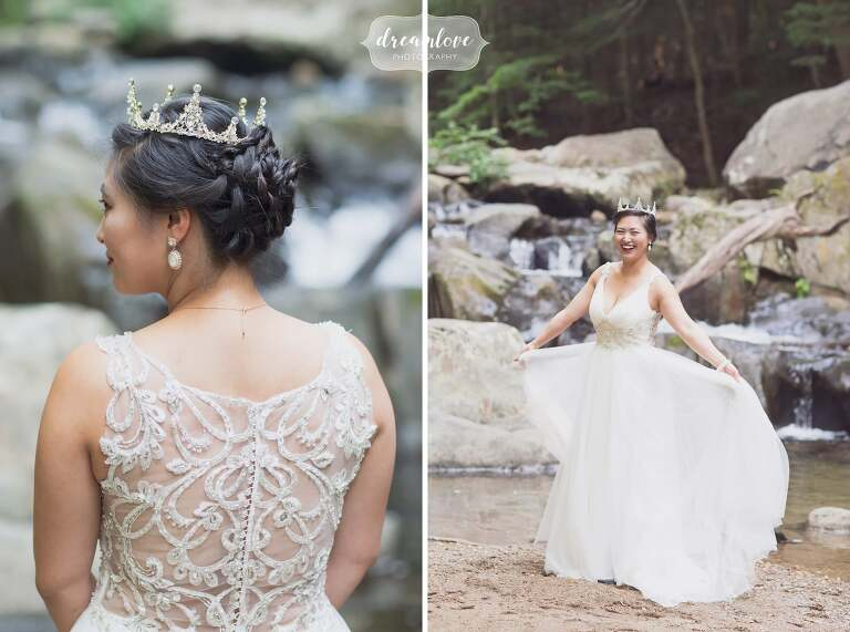 Fun wedding photos of the bride in the woods in Hanover NH.