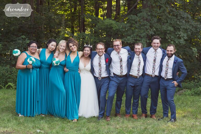 Wedding party in teal dresses and navy suits in NH.