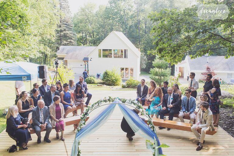 Intimate backyard wedding ceremony set up Hanover, NH.