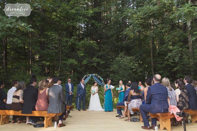 Example of backyard wedding ceremony set up.