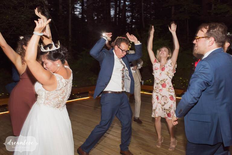 Outdoor dance patio for intimate wedding in NH.