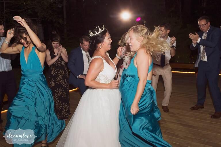 Dancing outside at small backyard wedding in NH.