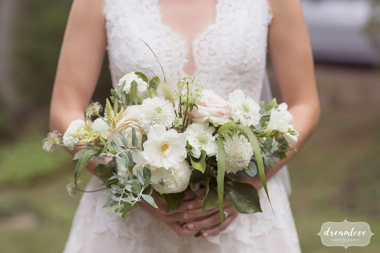 Bride's organic white and green wedding bouquet by Luna Moss for this North Shore wedding.