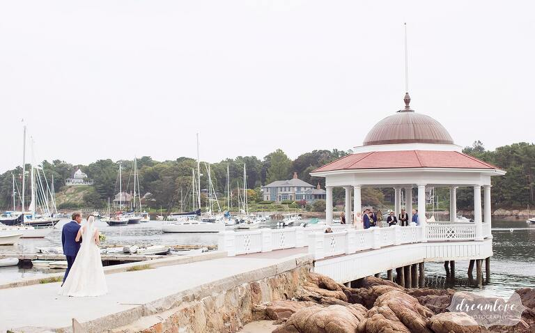 Couple has an intimate wedding ceremony in the Tuck's Point gazebo on North Shore.