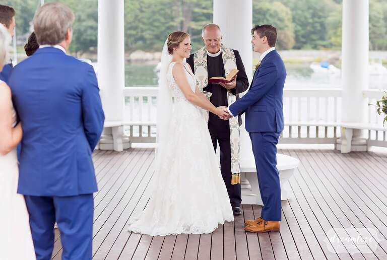 Bride and groom have a small wedding on Tuck's Point in MA.