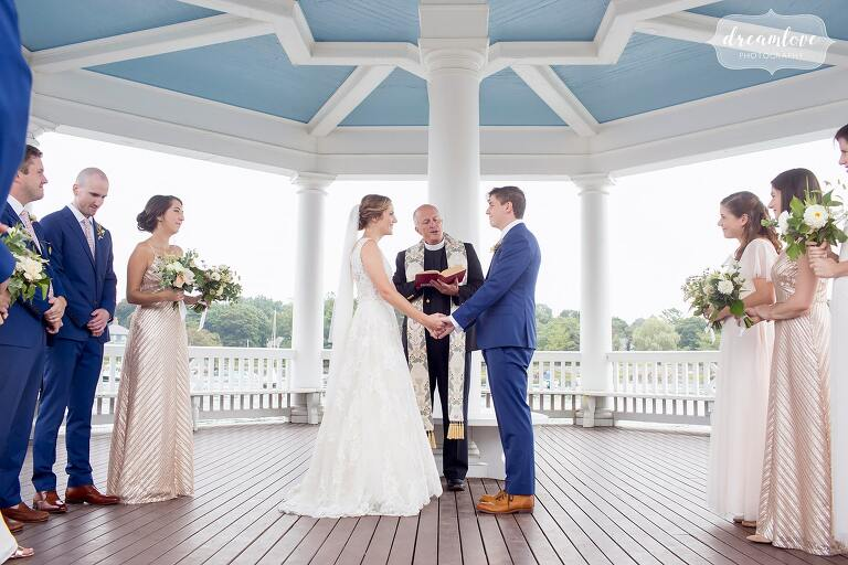 Tuck's Point wedding under the gazebo on the water in Manchester-by-the-Sea, MA.