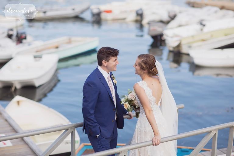 Easy and fun wedding photography fo bride and groom in marina at Manchester by the Sea, MA.