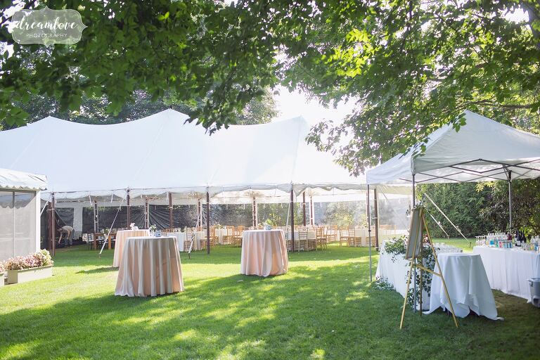 The Singing Beach Club is decorated for this coastal wedding on the North Shore of Boston.
