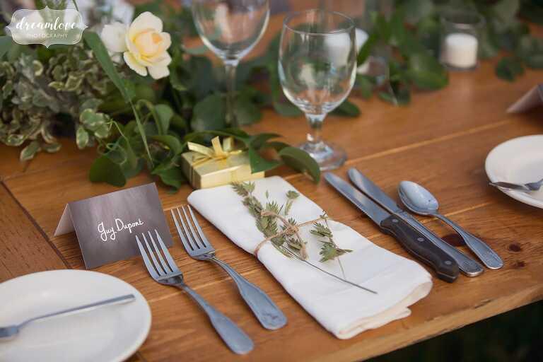 Singing Beach Club wedding with barley and hops decor.