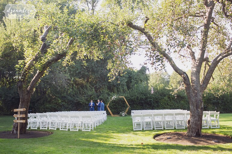 Modern wedding wooden ceremony arbor on the North Shore of MA.