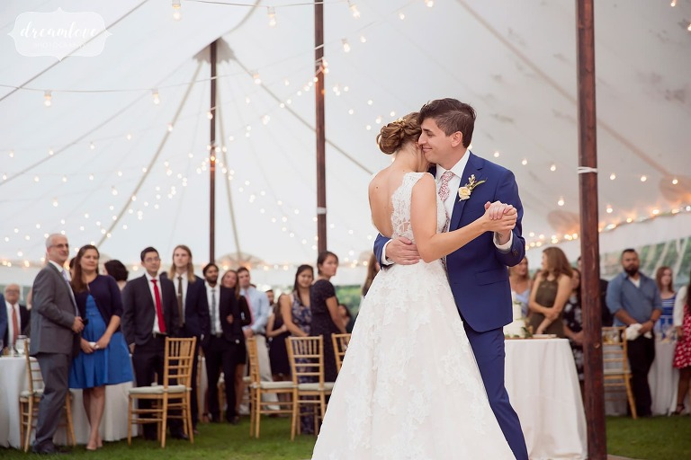 The bride and groom dance under tent at this North Shore wedding.
