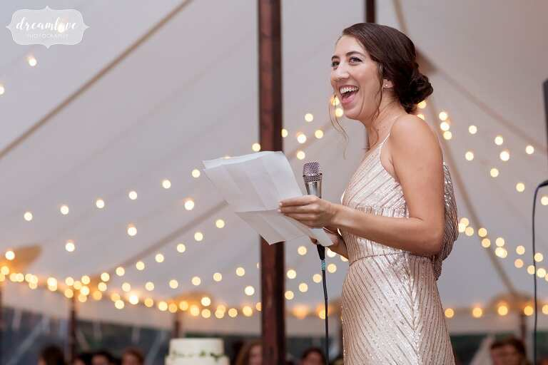 Maid of honor gives toast at this North Shore wedding.